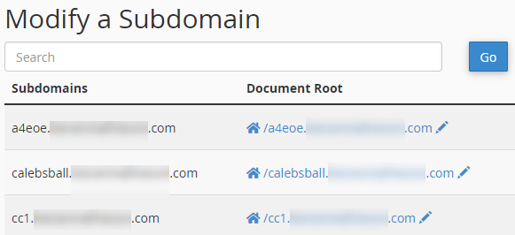 Subdomains screen